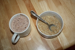 sugar-free hot chocolate and multi-grain rasin spice instant oatmeal.