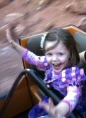 Three year old on Thunder Mountain, Disneyland